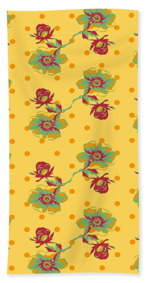 Flower Beach Towel featuring the digital art Vintage Wallpaper Seamless Rose Flower Pattern On Circles Polka by Svetlana Corghencea