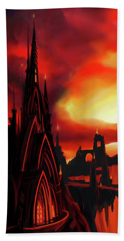 Castle Beach Towel featuring the painting Volcano Castle by James Christopher Hill