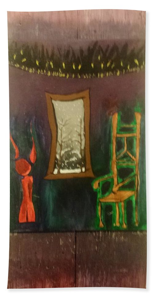 Dark. Sad. Modern. Abstract. Ben Gonzalez. Beautiful Beach Towel featuring the painting Waiting by Ben Gonzalez