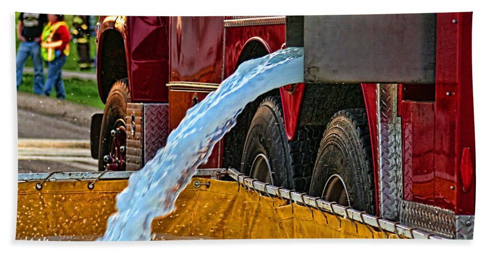 Firefighting Beach Towel featuring the photograph Water Dump by Tommy Anderson