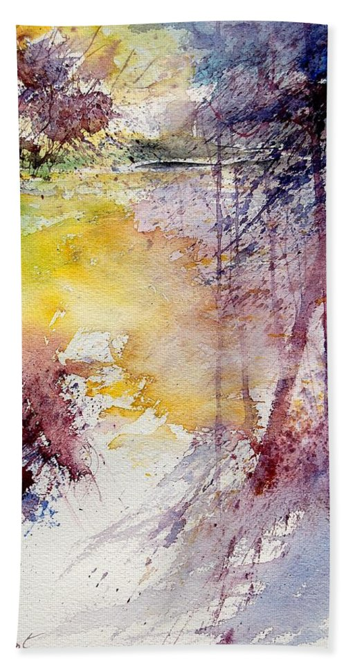 River Beach Towel featuring the painting Watercolor 040908 by Pol Ledent