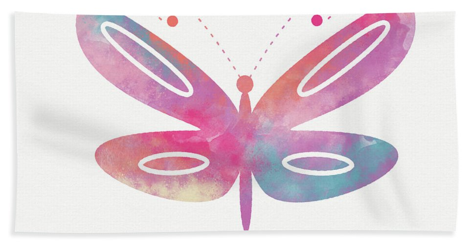 Butterfly Beach Towel featuring the mixed media Watercolor Butterfly 2- Art By Linda Woods by Linda Woods