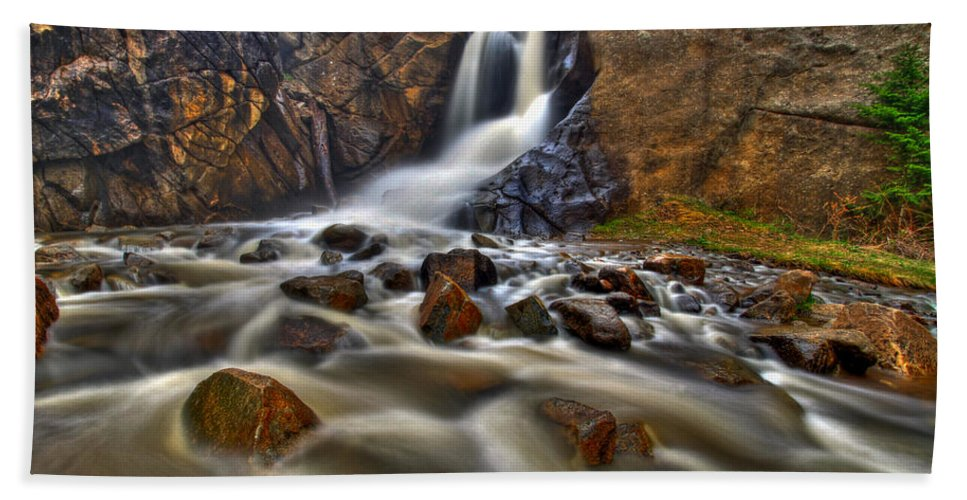 Waterfall Beach Towel featuring the photograph Waterfall Canyon by Scott Mahon