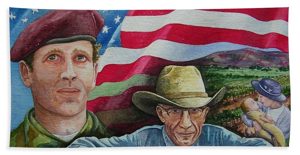 Soldier Beach Towel featuring the painting We Hold These Truths by Gale Cochran-Smith