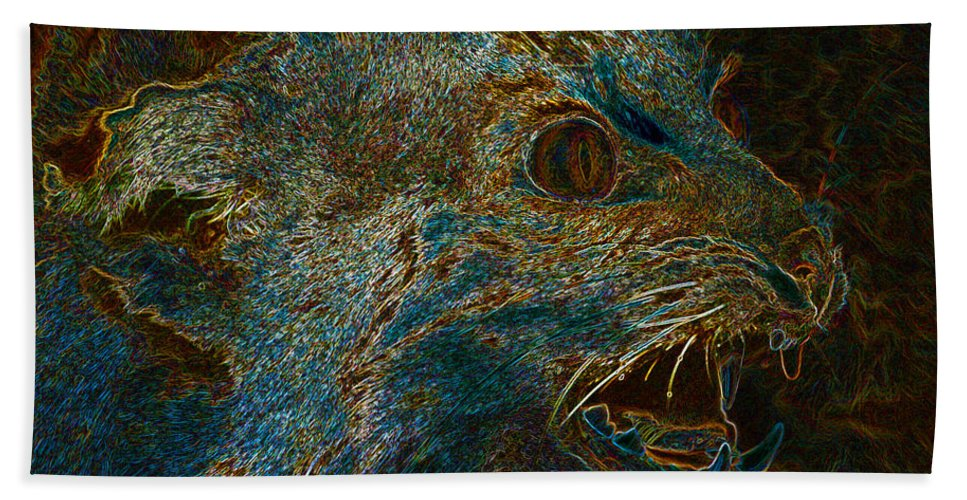 Art Beach Towel featuring the painting Wildcat by David Lee Thompson