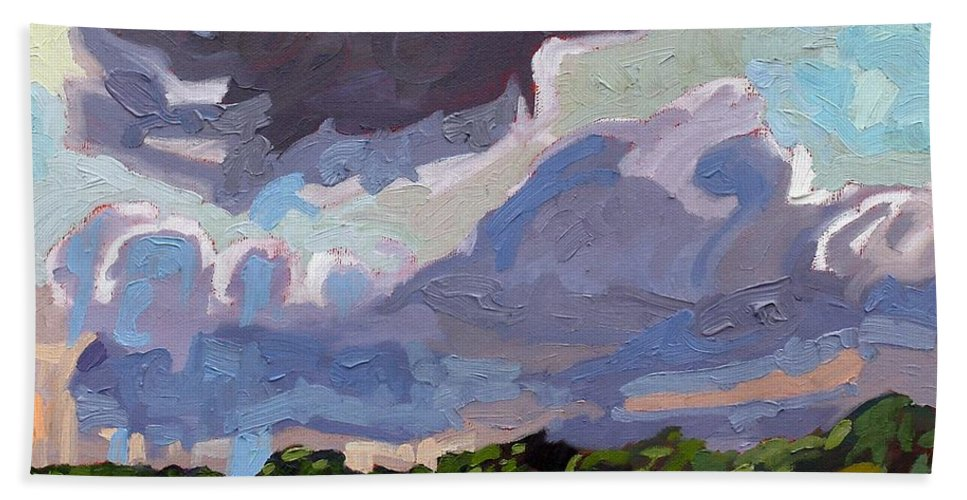 Tower Beach Towel featuring the painting Windy Day by Phil Chadwick