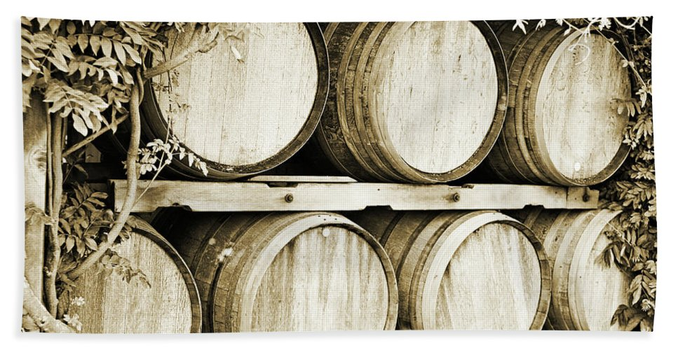 Wine Beach Towel featuring the photograph Wine Barrels by Scott Pellegrin