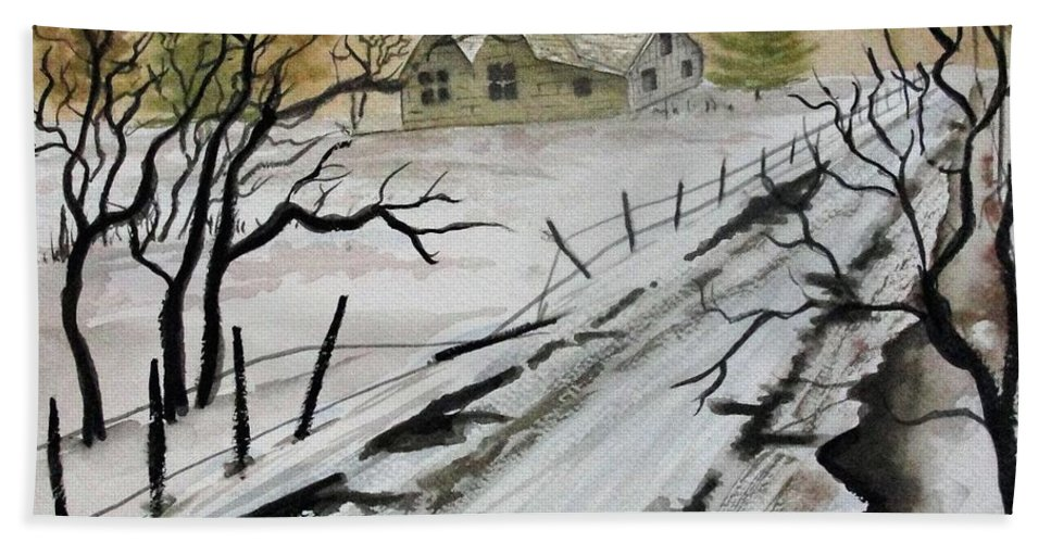 Building Beach Towel featuring the painting Winter Farmhouse by Jimmy Smith