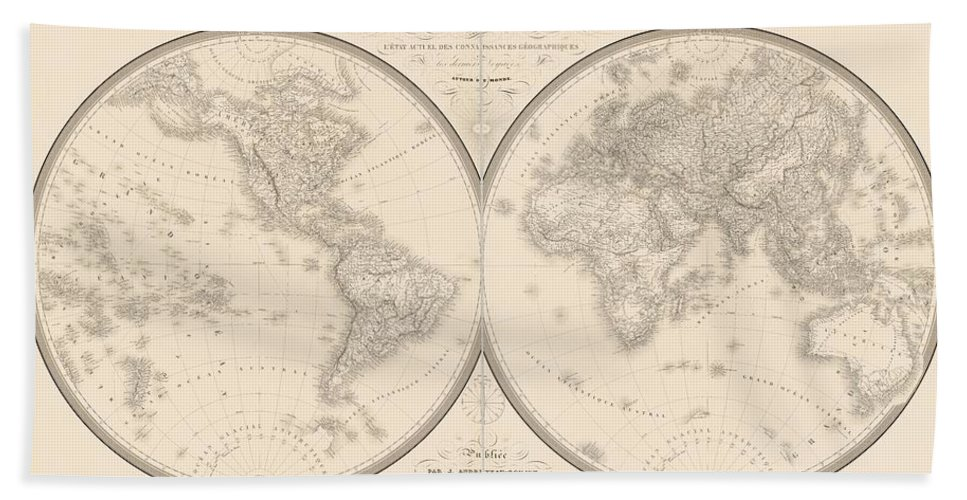Beach Towel featuring the mixed media World Map In Two Hemispheres by Art Makes Happy