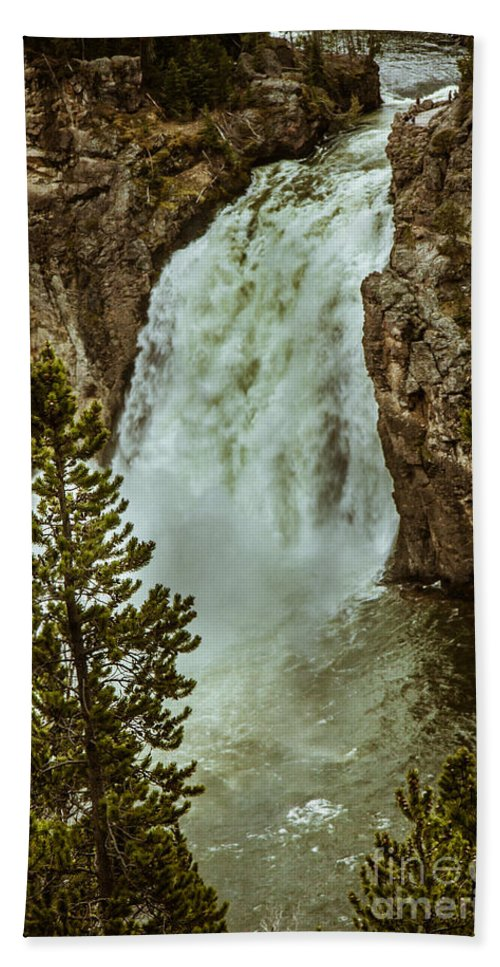 River Beach Towel featuring the photograph Yellowstone Upper Falls by Robert Bales