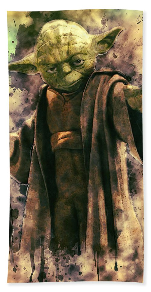 Yoda Beach Sheet featuring the digital art Yoda by Zapista Zapista