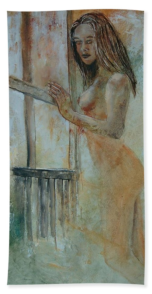 Gir Beach Sheet featuring the painting Young Girl 57905062 by Pol Ledent