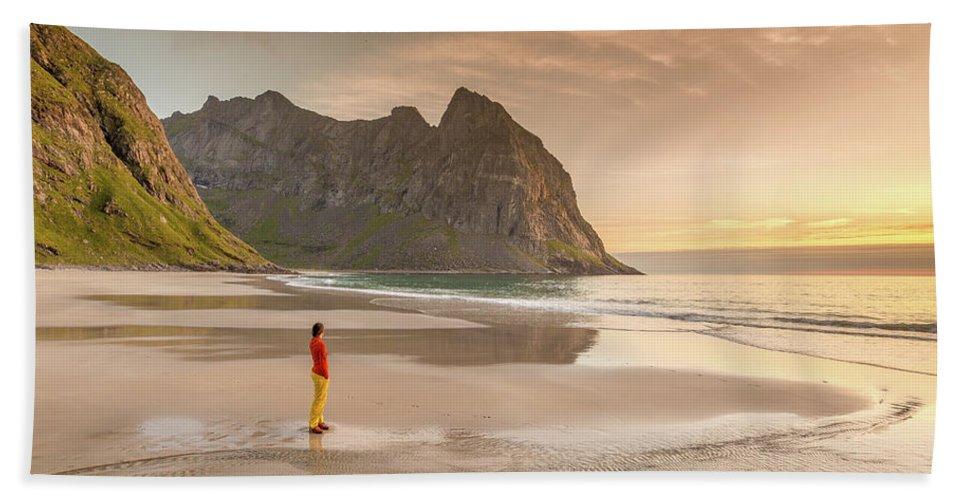 Kvalvika Beach Towel featuring the photograph Your Own Beach by Alex Conu