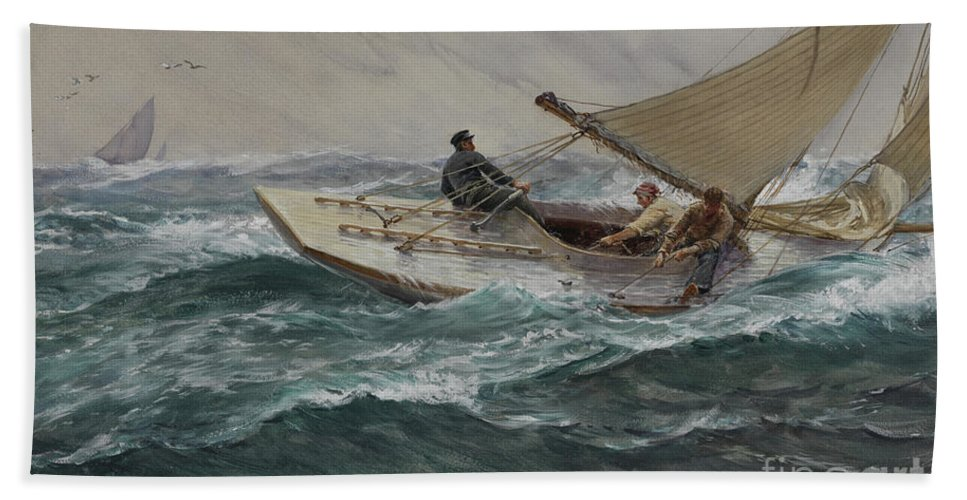 Sailing Beach Towel featuring the painting Youth by Charles Napier Hemy