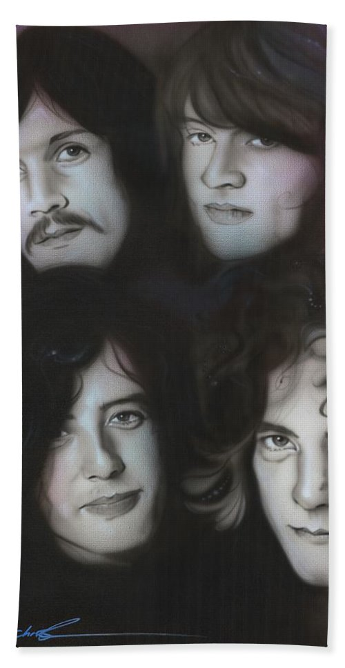 Led Zeppelin Beach Towel featuring the painting Zeppelin by Christian Chapman Art
