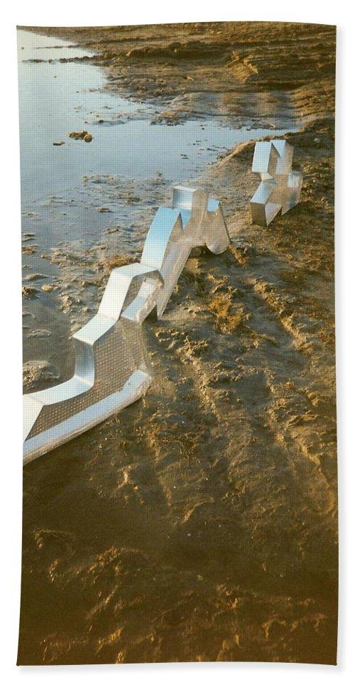 Zinc Beach Towel featuring the photograph Zinc Sculptures On The Beach At Sunset by Liliane DUMONT-BUIJS