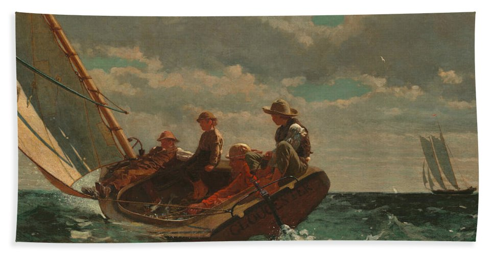 Winslow Homer Beach Towel featuring the painting Breezing Up by Winslow Homer