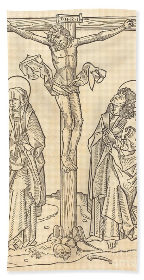 Beach Towel featuring the drawing Christ On The Cross by German 15th Century