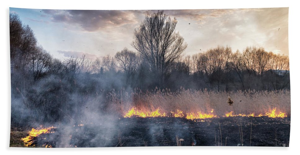 Nature Beach Towel featuring the photograph Fires Sunset Landscape by Oleksandr Masnyi
