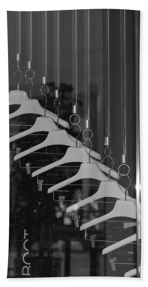 Hangers Beach Towel featuring the photograph 10 Hangers In Black And White by Rob Hans