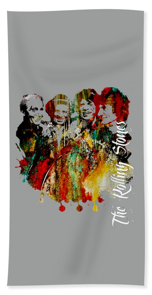 Mick Jagger Beach Towel featuring the mixed media The Rolling Stones Collection by Marvin Blaine