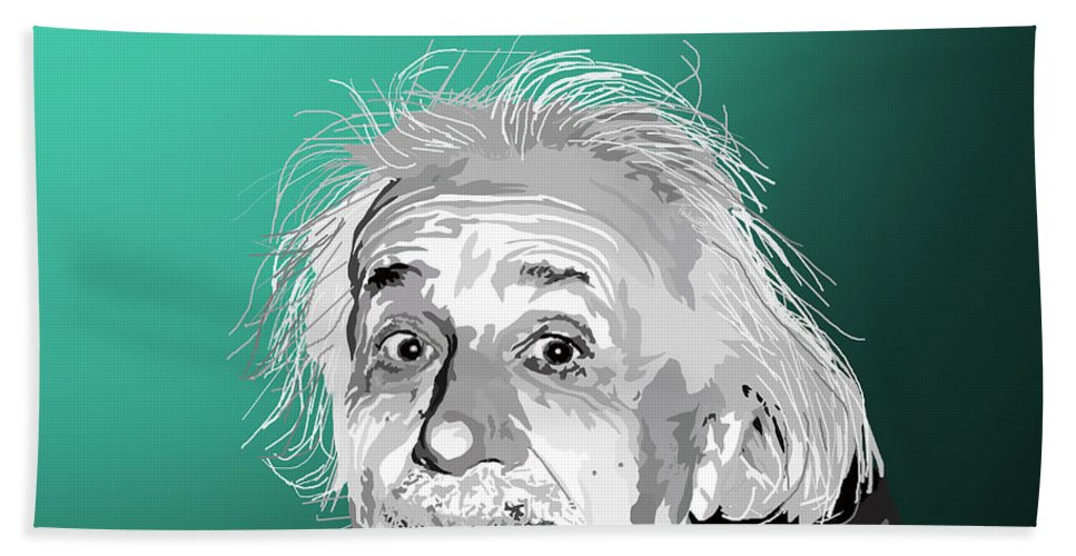 Einstein Beach Towel featuring the digital art 100. Imagination Is More Important Than Knowledge by Tam Hazlewood