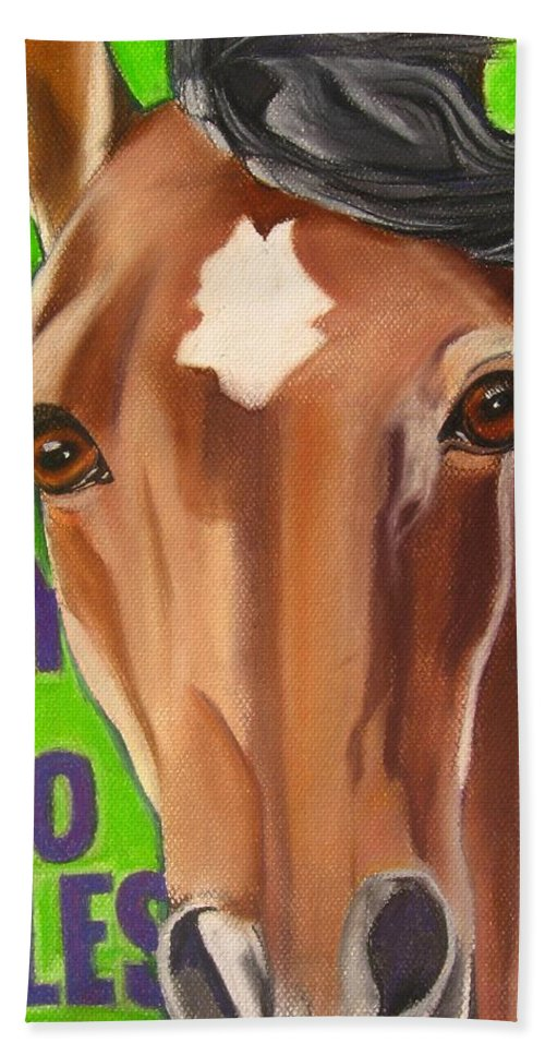 Painting Of A Horse Beach Towel featuring the painting 100 Mile Horse by Michelle Hayden-Marsan
