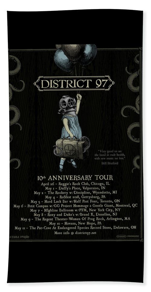 Beach Towel featuring the digital art 10th Anniversary Tour by District 97