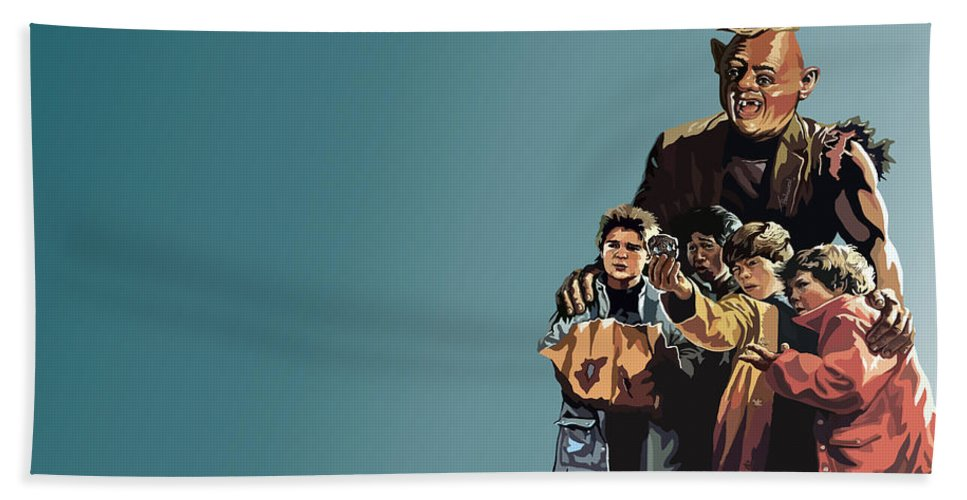The Goonies Beach Towel featuring the digital art 112. Never Say Die by Tam Hazlewood