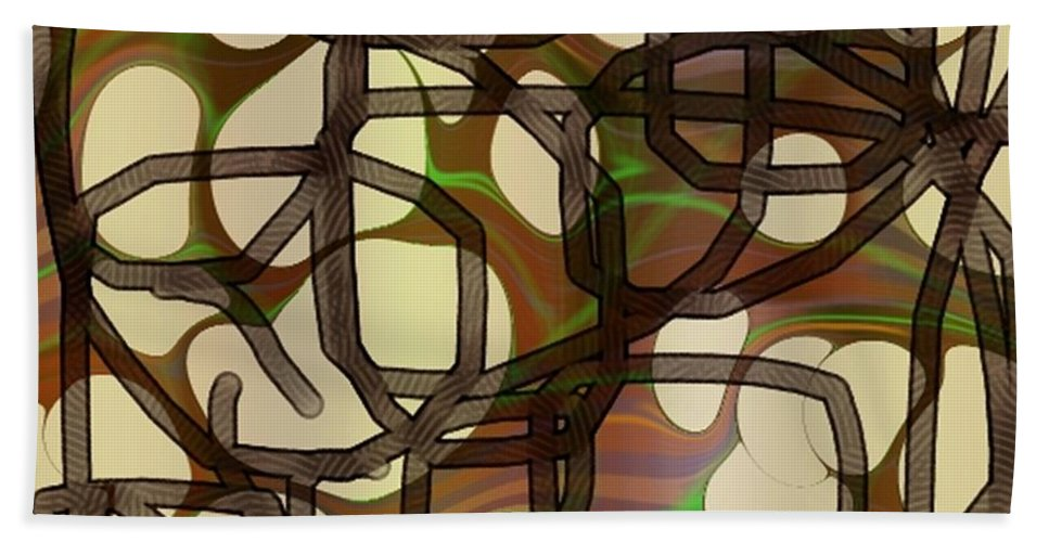 Abstract Art Beach Towel featuring the digital art 1197exp3 by Ron Bissett