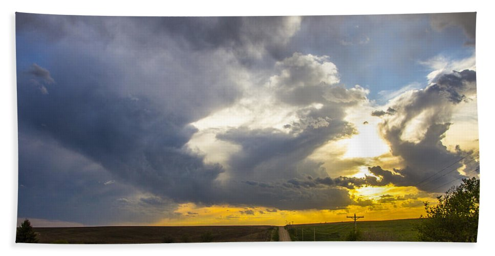 Nebraskasc Beach Towel featuring the photograph May Nebraska Storm Cells by NebraskaSC