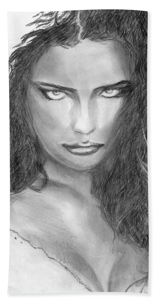 Adriana Lima Beach Towel featuring the drawing 13 by Kristopher VonKaufman