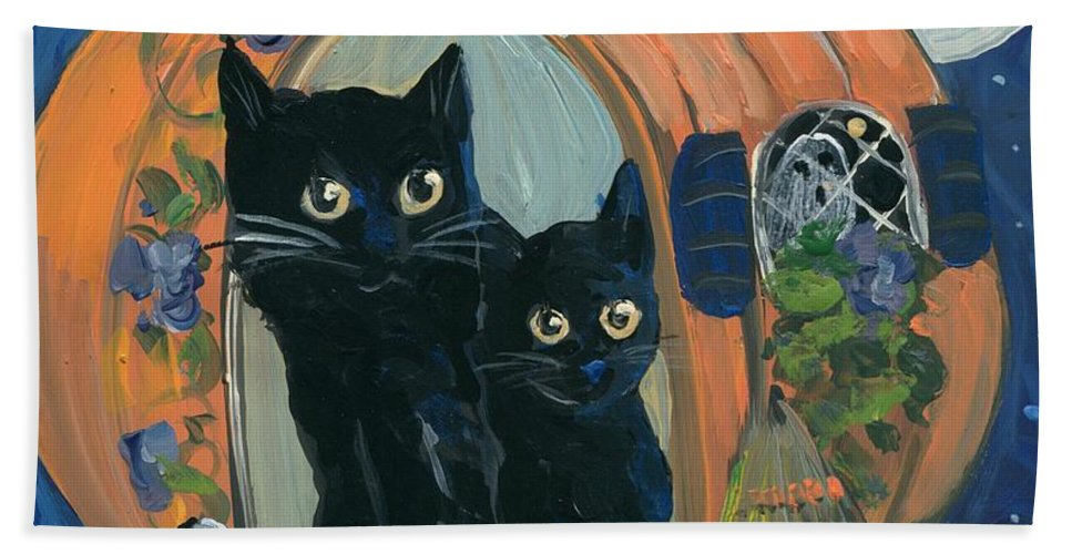 Halloween Beach Towel featuring the painting 1313 Spooky Lane by Sylvia Pimental