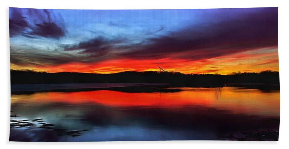 Sunset Beach Towel featuring the painting Sunset by Vadim Pavlov