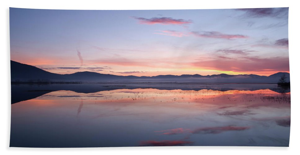 Lake Beach Towel featuring the photograph Cerknica Lake At Dawn by Ian Middleton