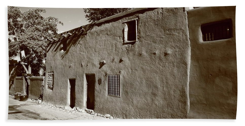 66 Beach Towel featuring the photograph Santa Fe - Adobe Building by Frank Romeo