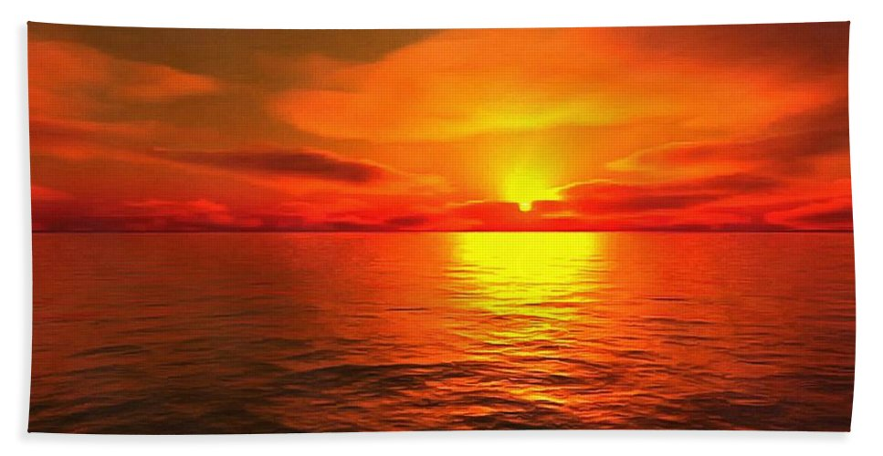 Sunset Beach Towel featuring the painting Sunset by Vadim Pavlov