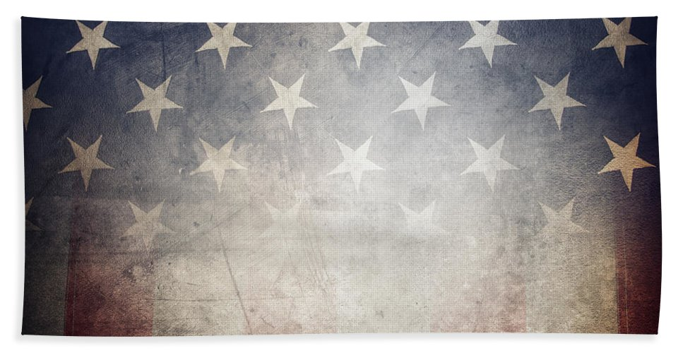 American Flag Beach Towel featuring the photograph American Flag by Les Cunliffe