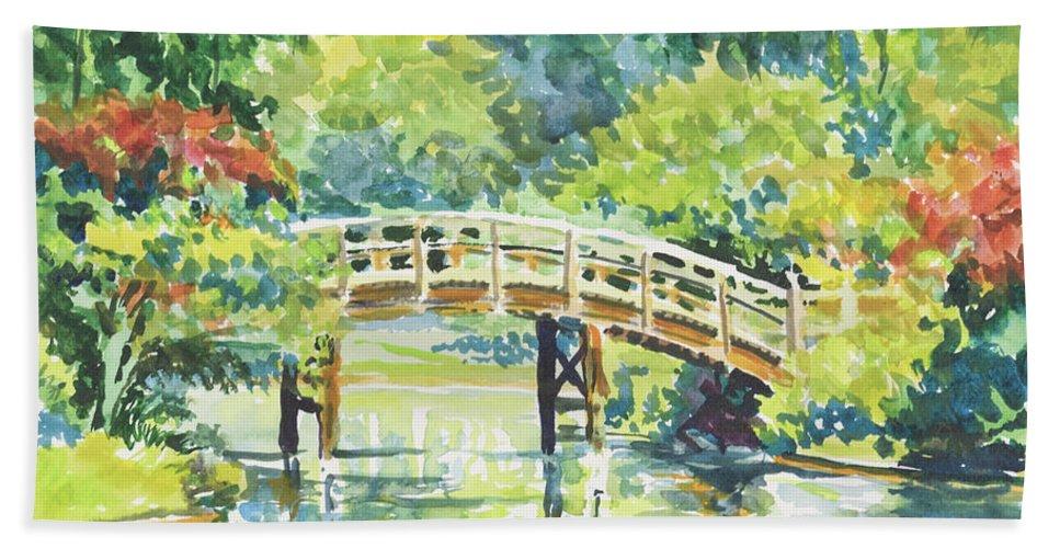 Missouri Botanical Garden Beach Towel featuring the painting 159 Mobot Japanese Bridge by Marilynne Bradley