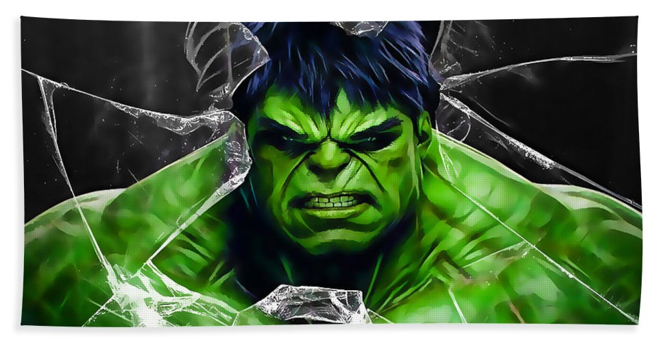 Avengers Beach Towel featuring the mixed media The Incredible Hulk Collection by Marvin Blaine