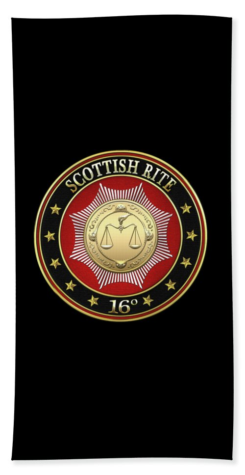 'scottish Rite' Collection By Serge Averbukh Beach Towel featuring the digital art 16th Degree - Prince Of Jerusalem Jewel On Black Leather by Serge Averbukh