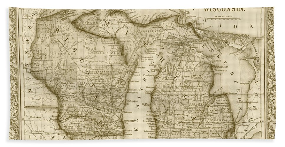 Michigan And Wisconsin Map.1800s Historical Michigan And Wisconsin Map Sepia Beach Towel For