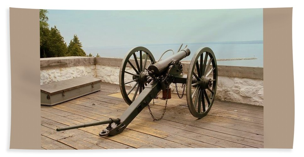 1841 Beach Towel featuring the photograph 1841 Model Six Pounder Cannon At Fort Mackinac by Anita Hiltz