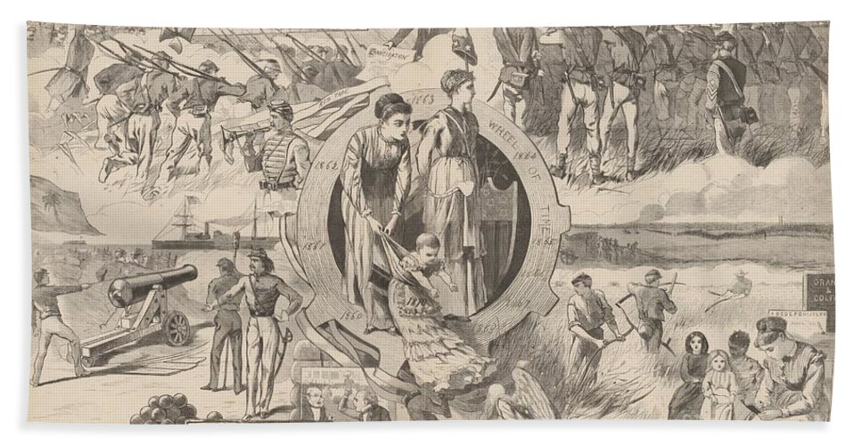 Beach Towel featuring the drawing 1860-1870 by After Winslow Homer