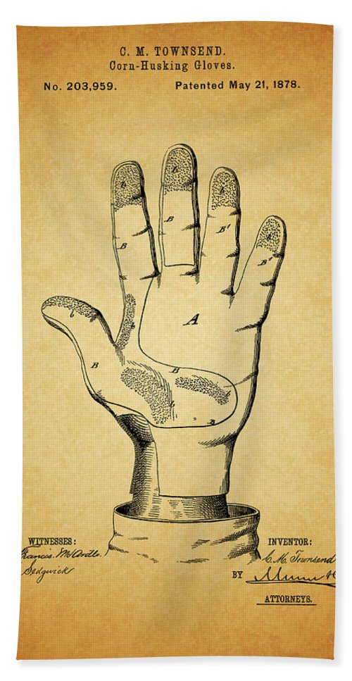 1878 Corn Husking Glove Patent Beach Towel featuring the mixed media 1878 Corn Husking Glove Patent by Dan Sproul