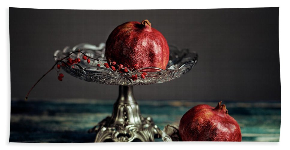 Still Life Beach Towel featuring the photograph Pomegranate by Nailia Schwarz