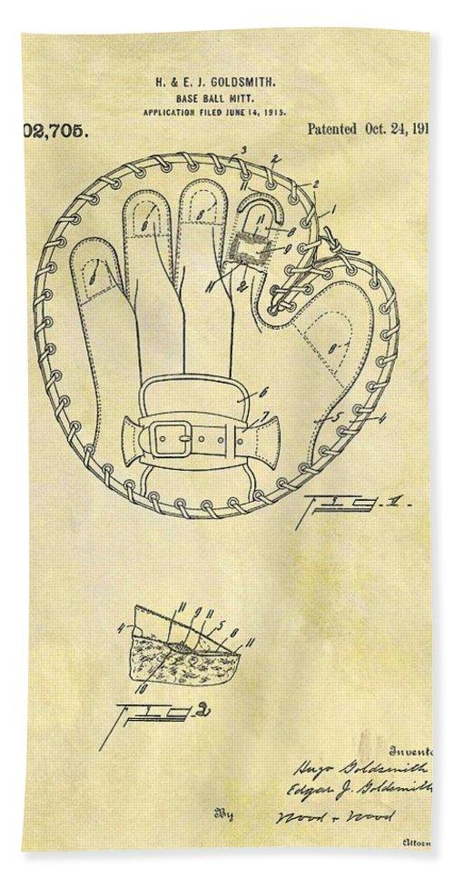 1916 Baseball Glove Patent Beach Towel featuring the drawing 1916 Baseball Glove Patent by Dan Sproul