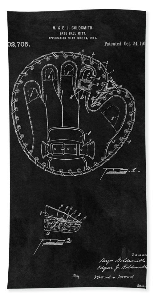 1916 Baseball Glove Patent Beach Towel featuring the drawing 1916 Baseball Mitt Patent by Dan Sproul