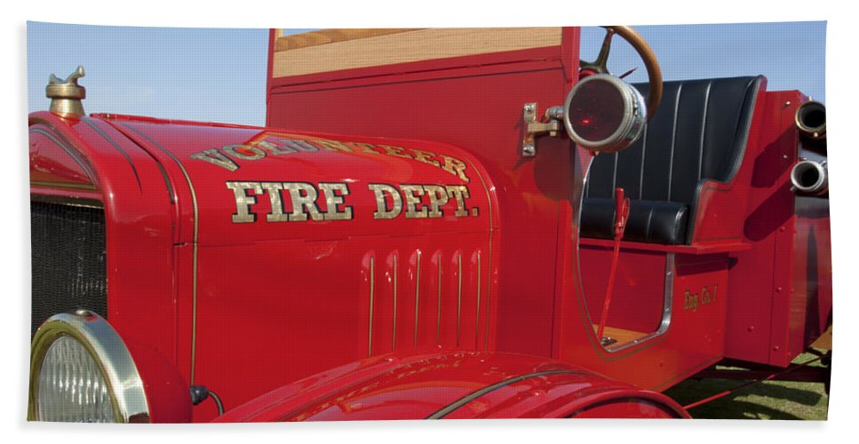1919 Ford Model T Beach Towel featuring the photograph 1919 Volunteer Fire Truck by Jill Reger