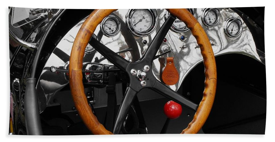 Ford Racer Beach Towel featuring the photograph 1920-1930 Ford Racer Dash by Neil Zimmerman